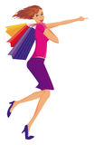 Mulher feliz de compra. Fotografia de Stock