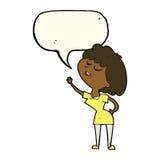 mulher feliz dos desenhos animados aproximadamente a falar com a bolha do discurso ilustração royalty free