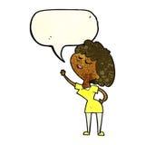 mulher feliz dos desenhos animados aproximadamente a falar com a bolha do discurso ilustração stock