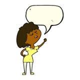 mulher feliz dos desenhos animados aproximadamente a falar com a bolha do discurso ilustração do vetor