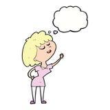 mulher feliz dos desenhos animados aproximadamente a falar com a bolha do pensamento ilustração stock