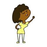mulher feliz dos desenhos animados cômicos aproximadamente a falar ilustração stock