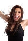 Mulher feliz excited exuberante do divertimento fotos de stock royalty free