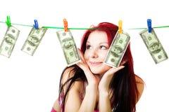 A mulher feliz ganhou uma fortuna Fotografia de Stock