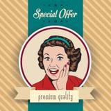 Mulher feliz, ilustração retro comercial do clipart Imagem de Stock Royalty Free