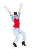 Mulher feliz mãos levantadas acima Imagens de Stock Royalty Free
