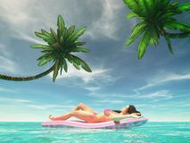 Mulher feliz na cama de ar cor-de-rosa ilustração stock