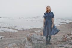 Mulher feliz na paisagem do inverno imagens de stock