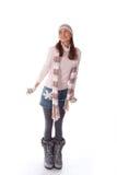 mulher feliz na roupa do inverno Imagem de Stock Royalty Free