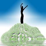 Mulher feliz no monte Ilustração do Vetor