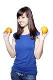 Mulher feliz nova com frutas Fotografia de Stock Royalty Free