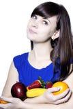 Mulher feliz nova com frutas Fotos de Stock Royalty Free