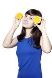 Mulher feliz nova com frutas Fotos de Stock