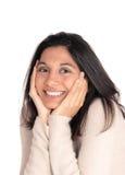 Mulher feliz que guarda sua cara em suas mãos Fotos de Stock Royalty Free