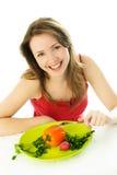 Mulher feliz que mantem uma dieta Fotos de Stock Royalty Free