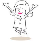 Mulher feliz que salta com braços abertos ilustração stock