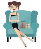 Mulher feliz que senta-se em uma cadeira grande ilustração do vetor