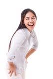 Mulher feliz, rindo foto de stock