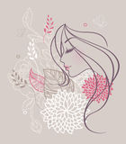 Mulher floral da beleza Fotografia de Stock Royalty Free