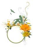 Mulher, flores e pássaro do assento Fotos de Stock