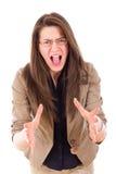 Mulher forçada com a gritaria dos vidros na frustração imagens de stock