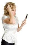 Mulher forçada do telefone imagens de stock royalty free