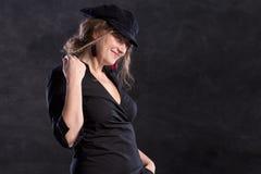 Mulher francesa de sorriso imagem de stock