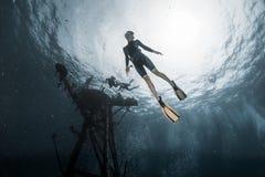 Mulher Freediver Imagens de Stock