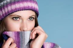 Mulher fria do inverno fotografia de stock