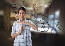 mulher frustrante com ícones da finança Fotografia de Stock Royalty Free