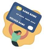 Mulher frustrante com peso da dívida o mais pesado do cartão ilustração do vetor