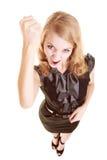 Mulher furioso da mulher de negócios irritada que agita o punho em você Fotos de Stock Royalty Free