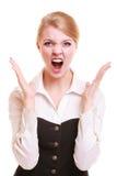 Mulher furioso da mulher de negócios irritada que grita Imagem de Stock Royalty Free