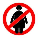Mulher gorda com sinal da limitação Mulher do excesso de peso Fotos de Stock Royalty Free