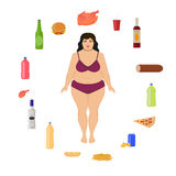 Mulher gorda dos desenhos animados do vetor e alimento insalubre Fotografia de Stock