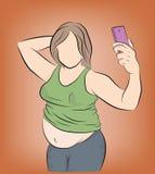 Mulher gorda que levanta no selfie do telefone overweight o problema da obesidade Peso perdedor Ilustração do vetor ilustração royalty free