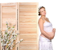 Mulher gravida bonita com flores foto de stock royalty free