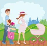 Mulher gravida bonita e seu marido na compra ilustração royalty free