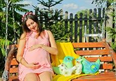 Mulher gravida bonita exterior com decorações Imagem de Stock Royalty Free