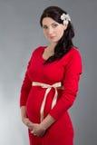 Mulher gravida bonita no vestido vermelho sobre o fundo cinzento Foto de Stock Royalty Free