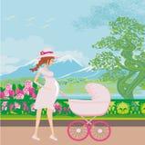 Mulher gravida bonita que empurra um carrinho de criança com sua filha ilustração do vetor