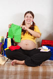 Mulher gravida com compras Fotografia de Stock