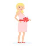 Mulher gravida com curva do presente na barriga Conceito da expectativa Estilo liso Ilustração do vetor Imagem de Stock Royalty Free