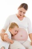 Mulher gravida com filho Fotos de Stock Royalty Free