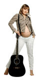 Mulher gravida com guitarra foto de stock royalty free