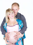 Mulher gravida com isolado do homem Imagens de Stock Royalty Free