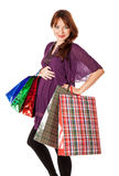 Mulher gravida com sacos imagem de stock royalty free