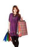 Mulher gravida com sacos fotografia de stock
