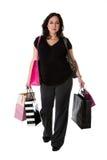 Mulher gravida com sacos de compra imagem de stock