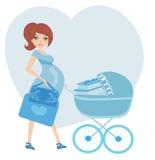 Mulher gravida com um portador de bebê azul completamente dos presentes ilustração do vetor